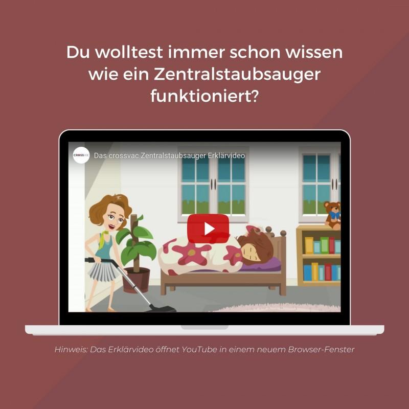 Das Crossvac Zentralstaubsauger Erklärvideo auf YouTube ansehen (Link öffnet in einem neuem Fenster!)