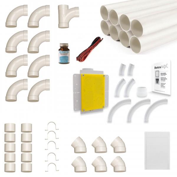 Zentralstaubsauger Einbau-Set für 1x Retraflex bis max. 12,2m Länge